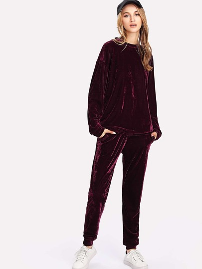 Drop Shoulder Top And Velvet Pants