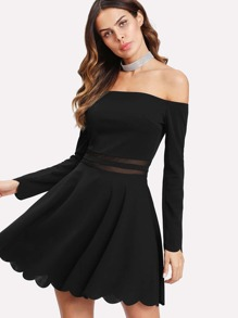 Mesh Insert Bardot Fit & Flare Dress