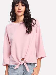 Knot Front Solid T-shirt