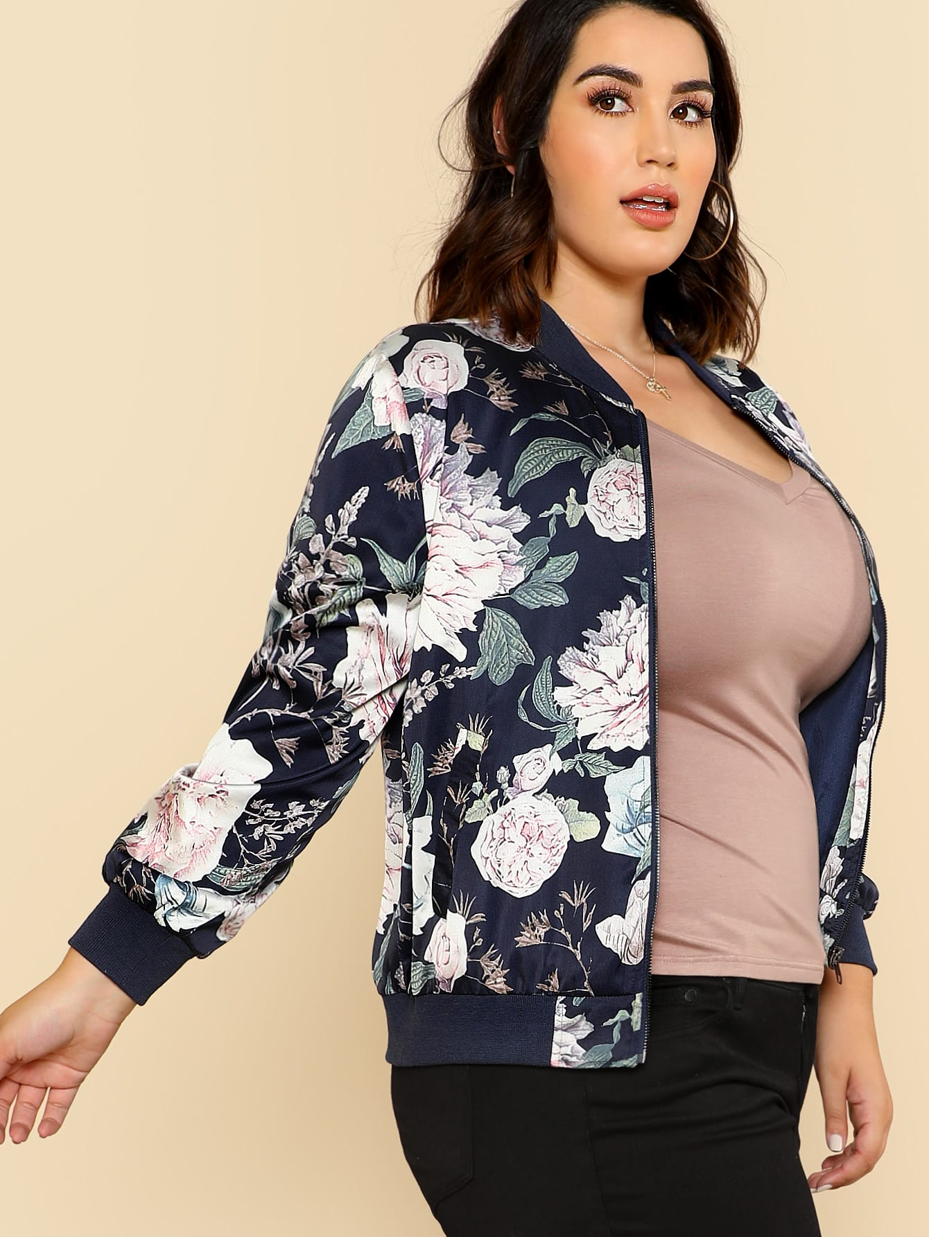 Flower Print Zip Up Bomber Jacket