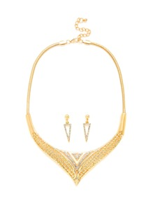 Rhinestone Triangle Design Necklace & Earring Set