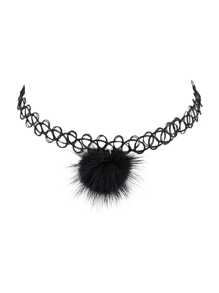 Black Tattoo Choker Ball Charm Choker Necklace