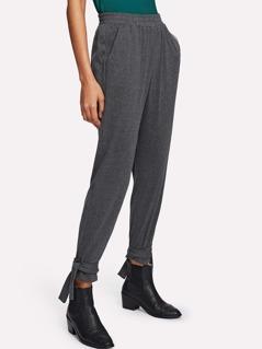 Tie Hem Heather Knit Sweatpants