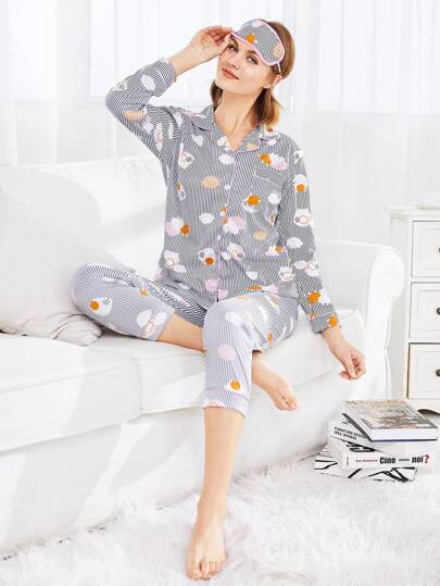 Cartoon Print Striped PJ Set