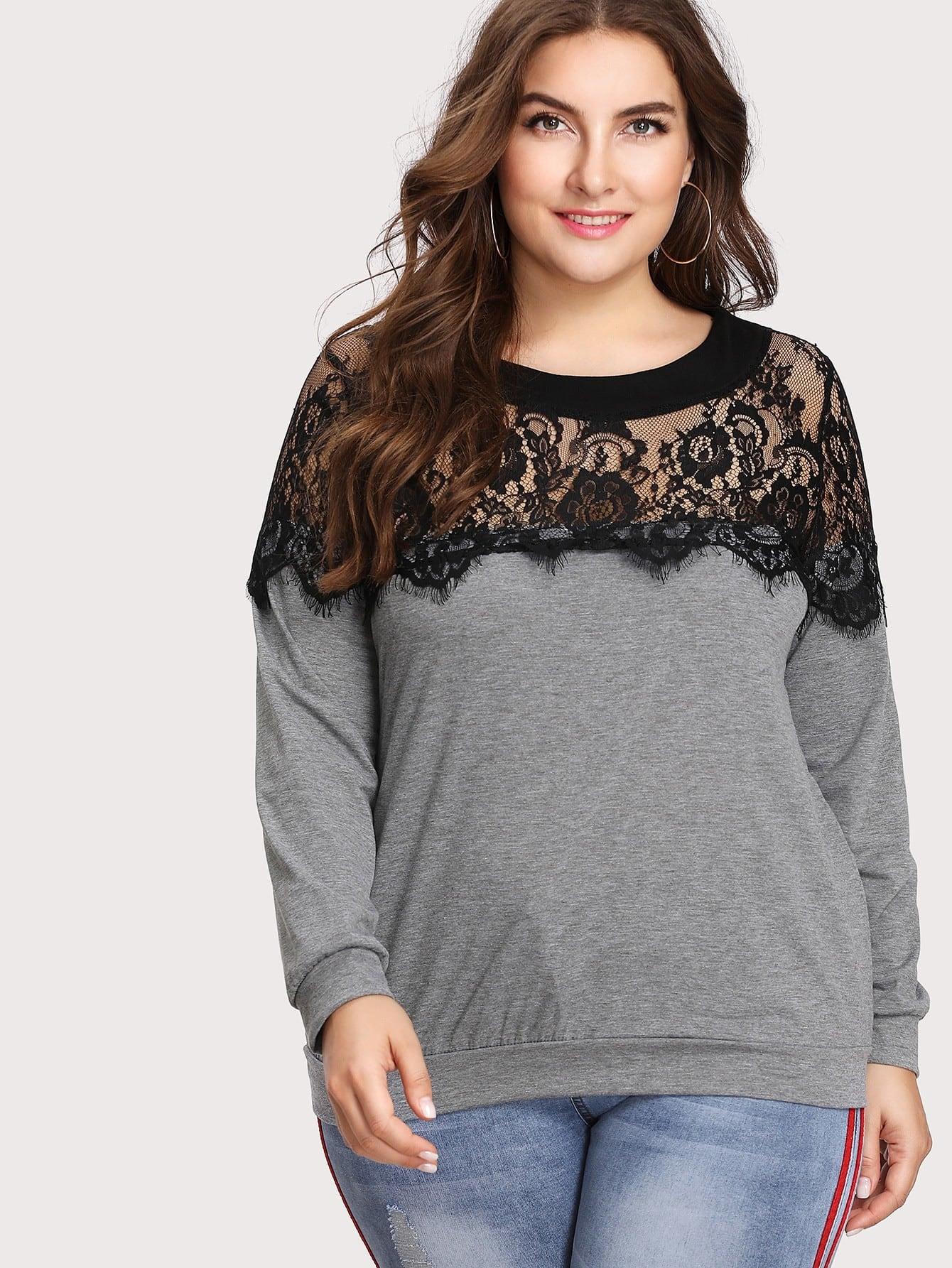 все цены на Lace Panel Yoke Sweatshirt