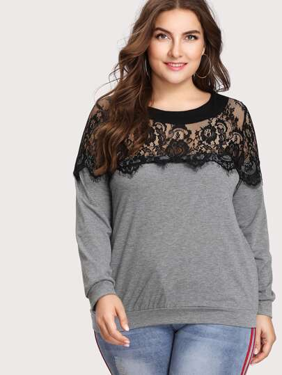 Lace Panel Yoke Sweatshirt