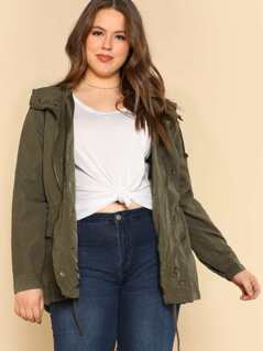 Hooded Double-Breasted Utility Jacket