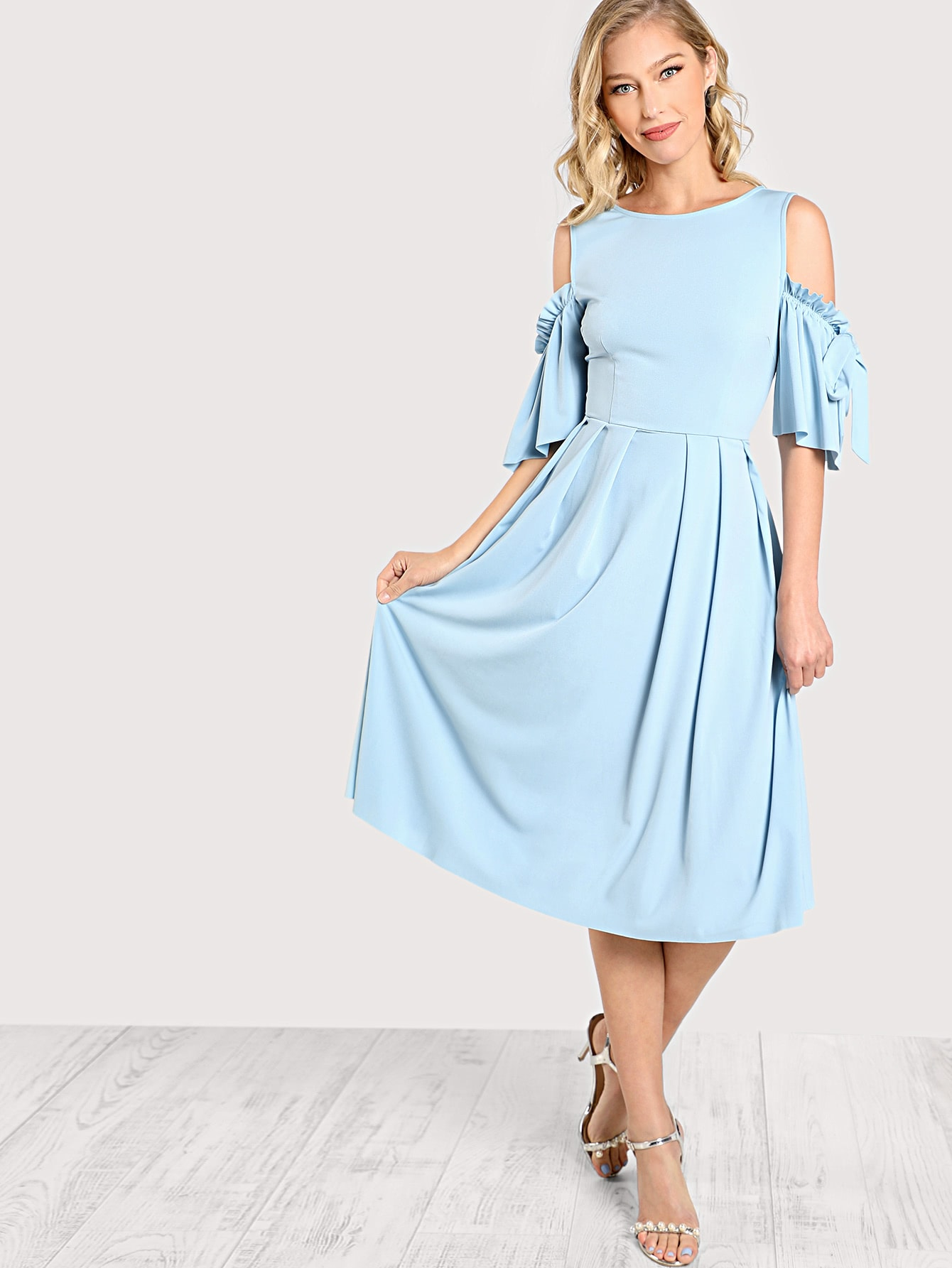 Bow Tie Flutter Sleeve Pleated Fit & Flared Dress zip back fit and flared plaid dress