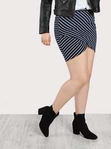 Tulip Wrap Striped Skirt