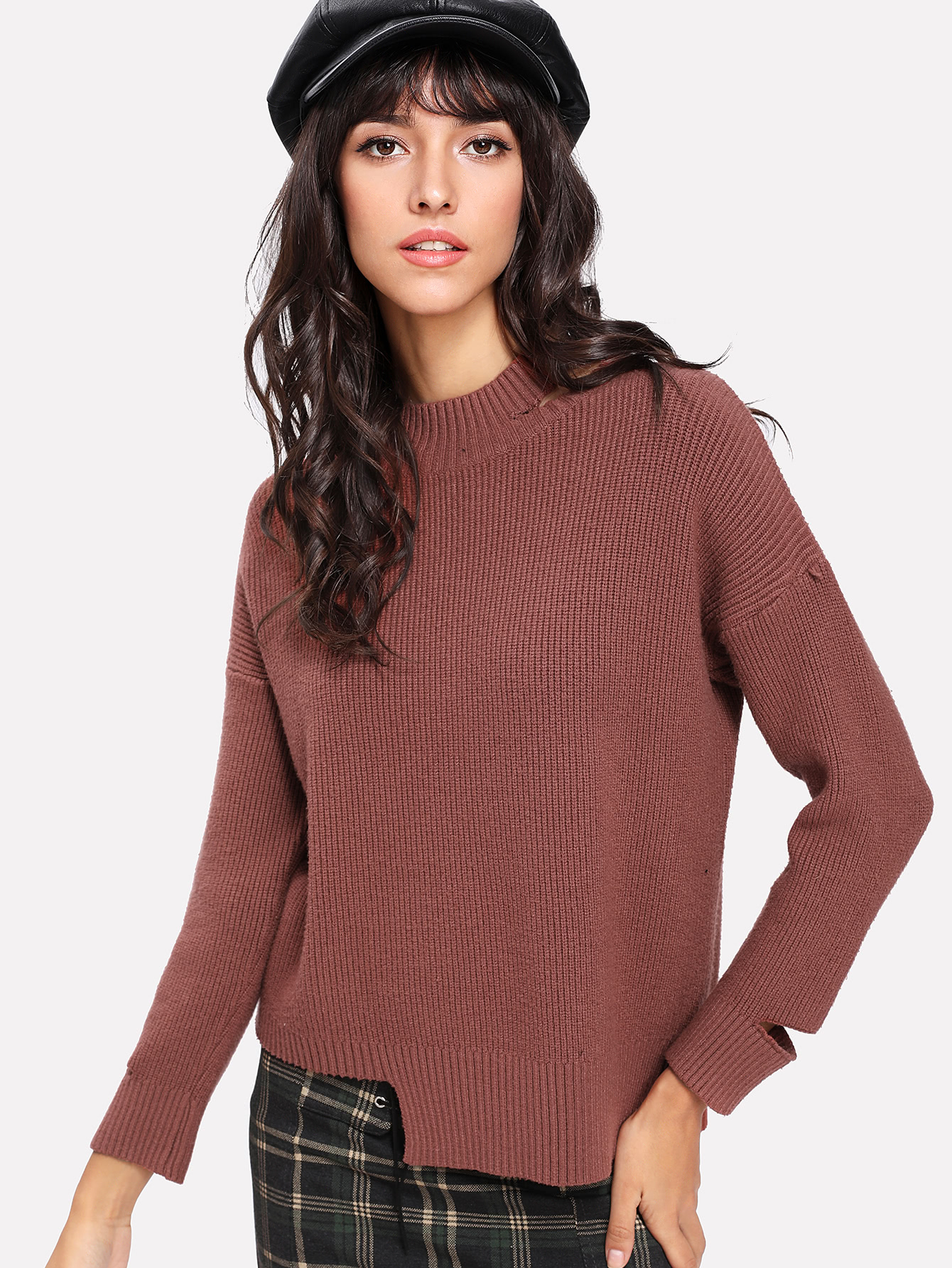 Image of Asymmetrical Hem Cut Out Sweater
