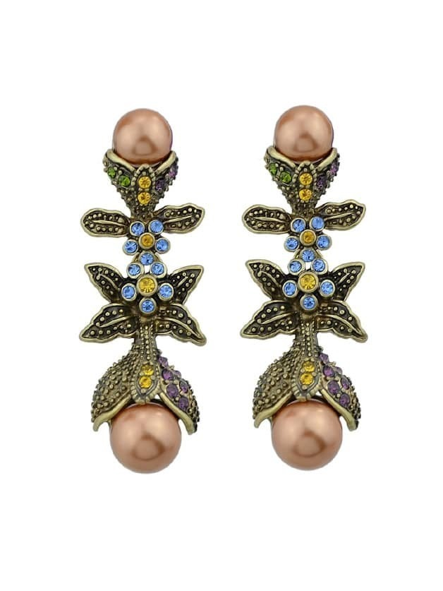 Фото Colorful Rhinestone Simulated-Pearl Leaf Long Party Earrings