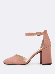 Faux Suede Mary Jane Pumps MAUVE
