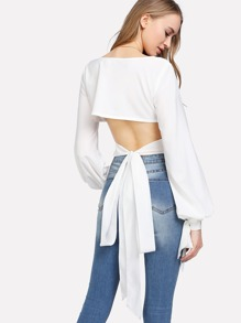 Bow Tied Cuff Knot Back Top