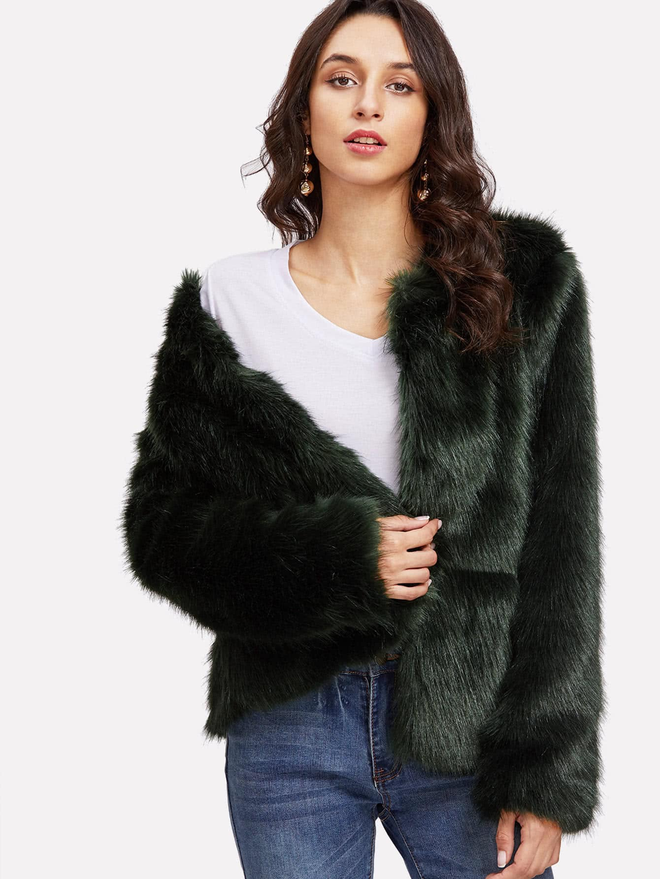 Image of Open Front Faux Fur Coat