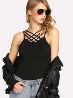 Caged Front Solid Cami Top
