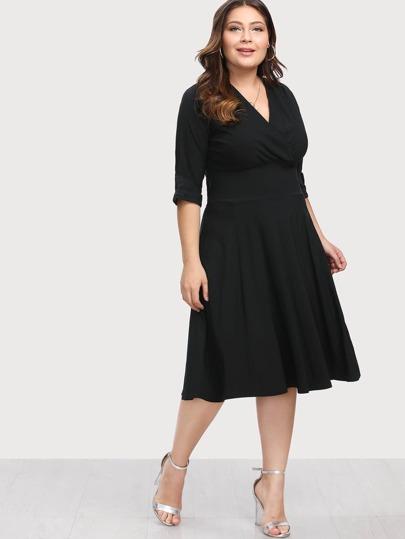 Surplice Neckline Swing Dress
