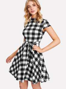 Belted Waist Fit & Flare Gingham Dress