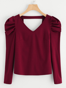 Puffed Sleeve V Back Fitted T-shirt