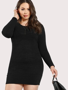Ribbed Accent Long Sleeve Dress BLACK