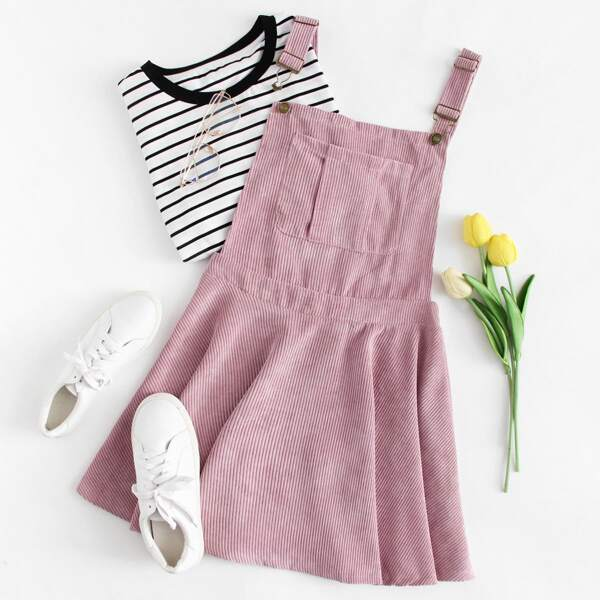 Pocket Front Zip Up Back Corduroy Overall Dress, Pink