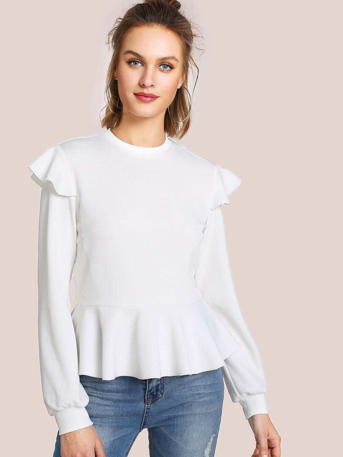 Ruffle Shoulder Rib Knit Peplum Top blouse171213705