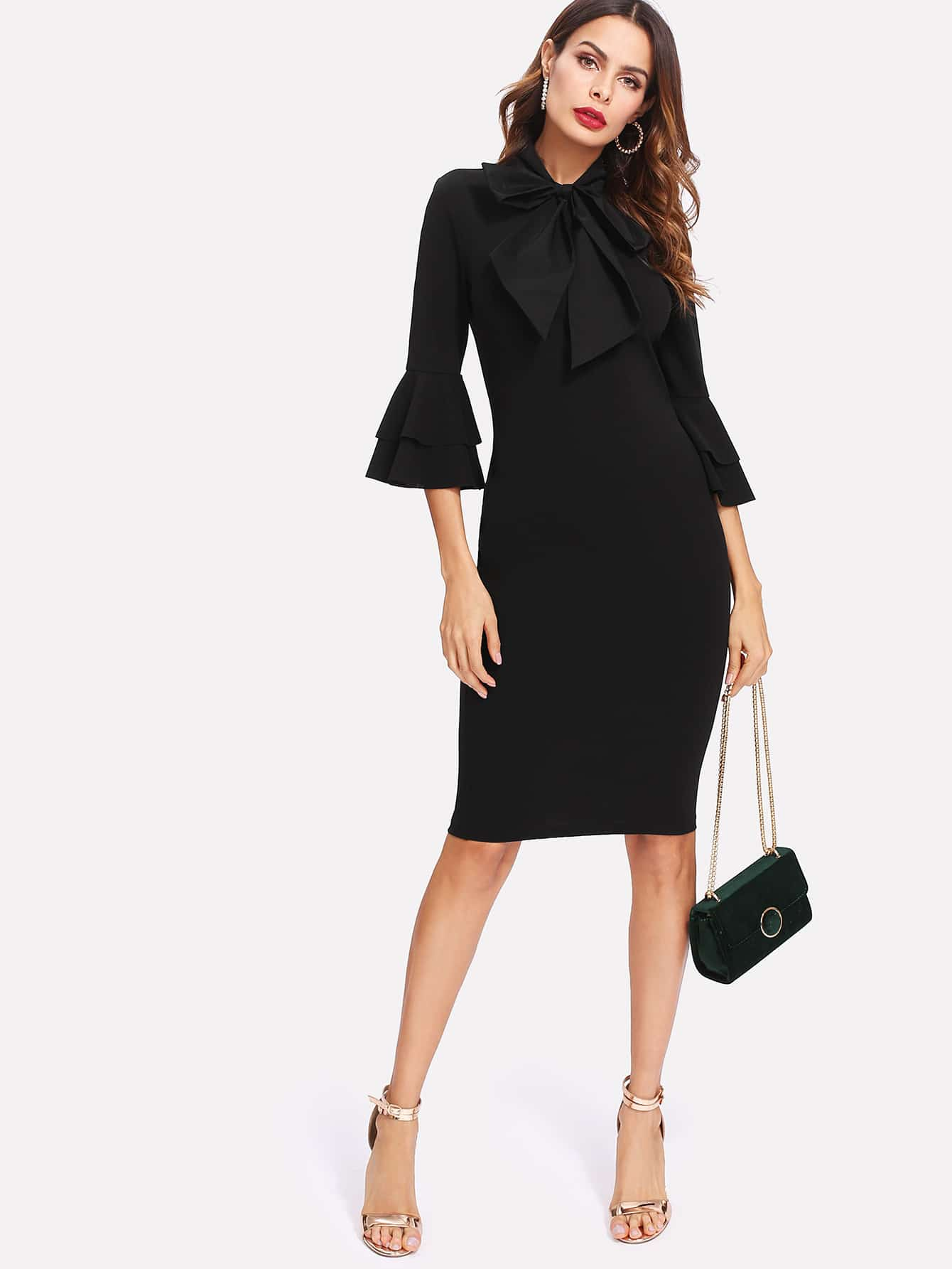 Flounce Sleeve Slit Back Tied Neck Fitted Dress one shoulder slit back fitted dress