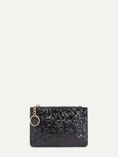 Glitter PU Wallet With Ring