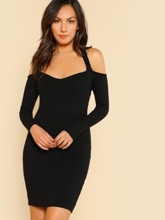 T-back Rib Knit Cold Shoulder Dress BLACK