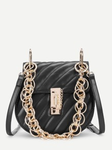 PU Saddle Bag With Chain Handle