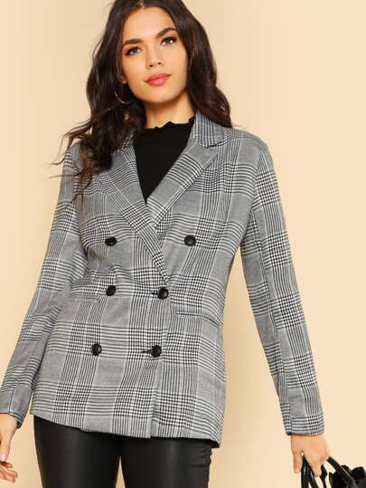 Checker Plaid Blazer Jacket GREY