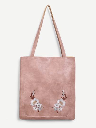 Flower Embroidered PU Shoulder Bag