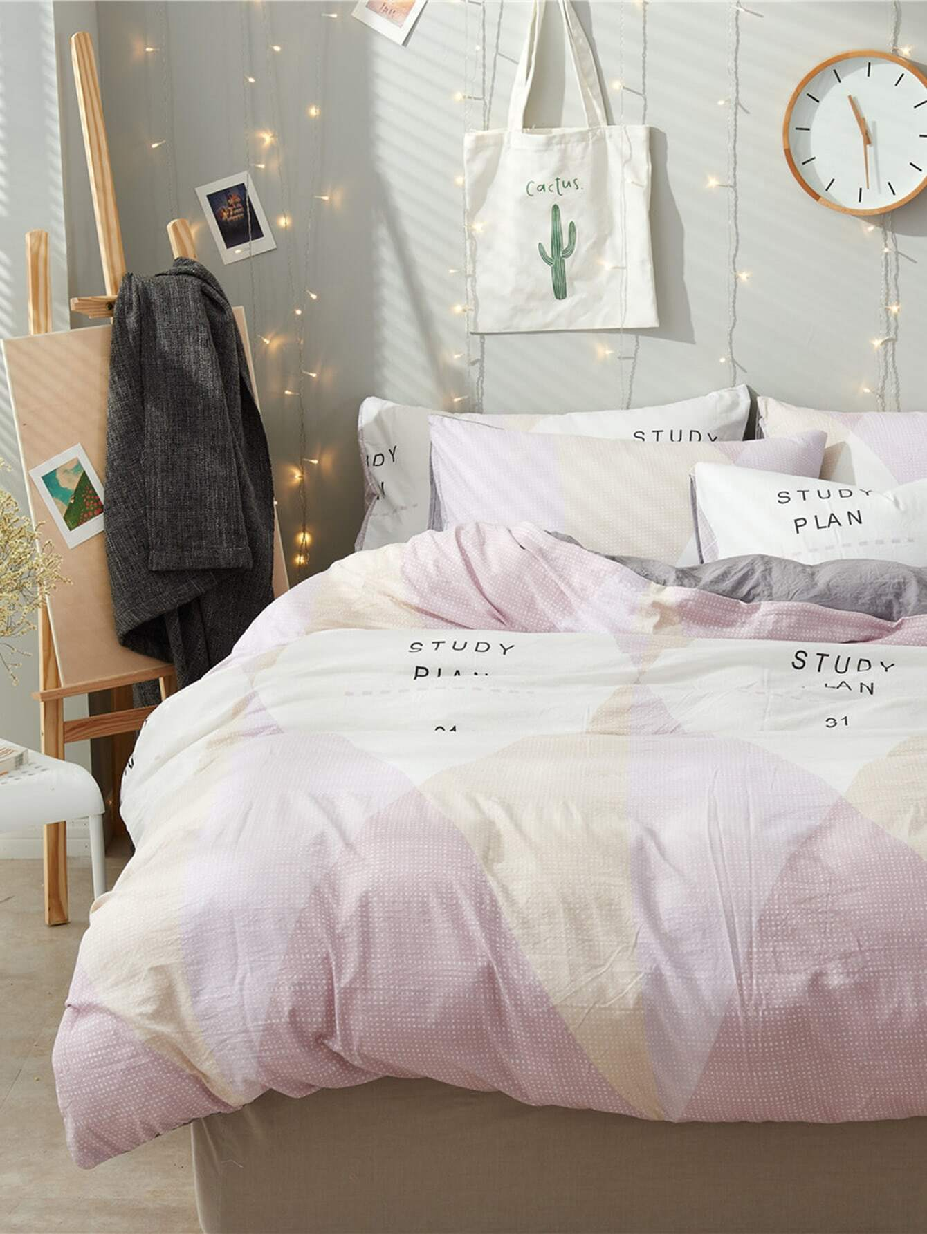 2.0m 4Pcs Colorblock Letter Print Bed Sheet Set
