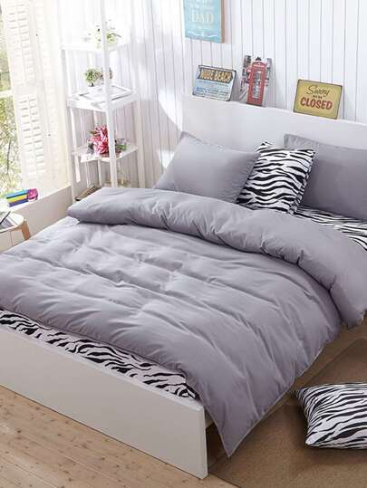 2.2m 4Pcs Zebra Print Duvet Cover Set