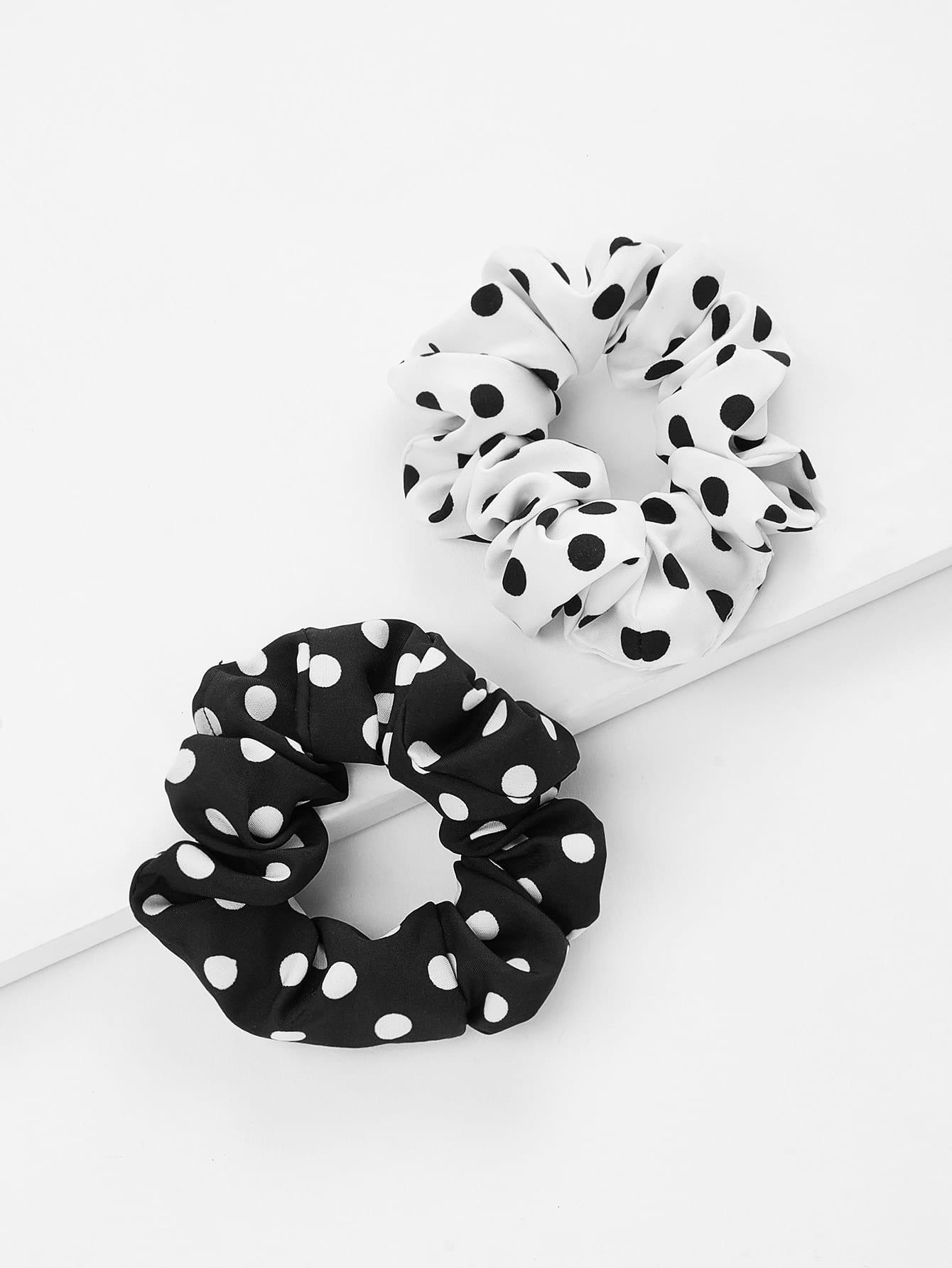 Polka Dot Print Hair Tie 2pcs metallic hair tie 2pcs