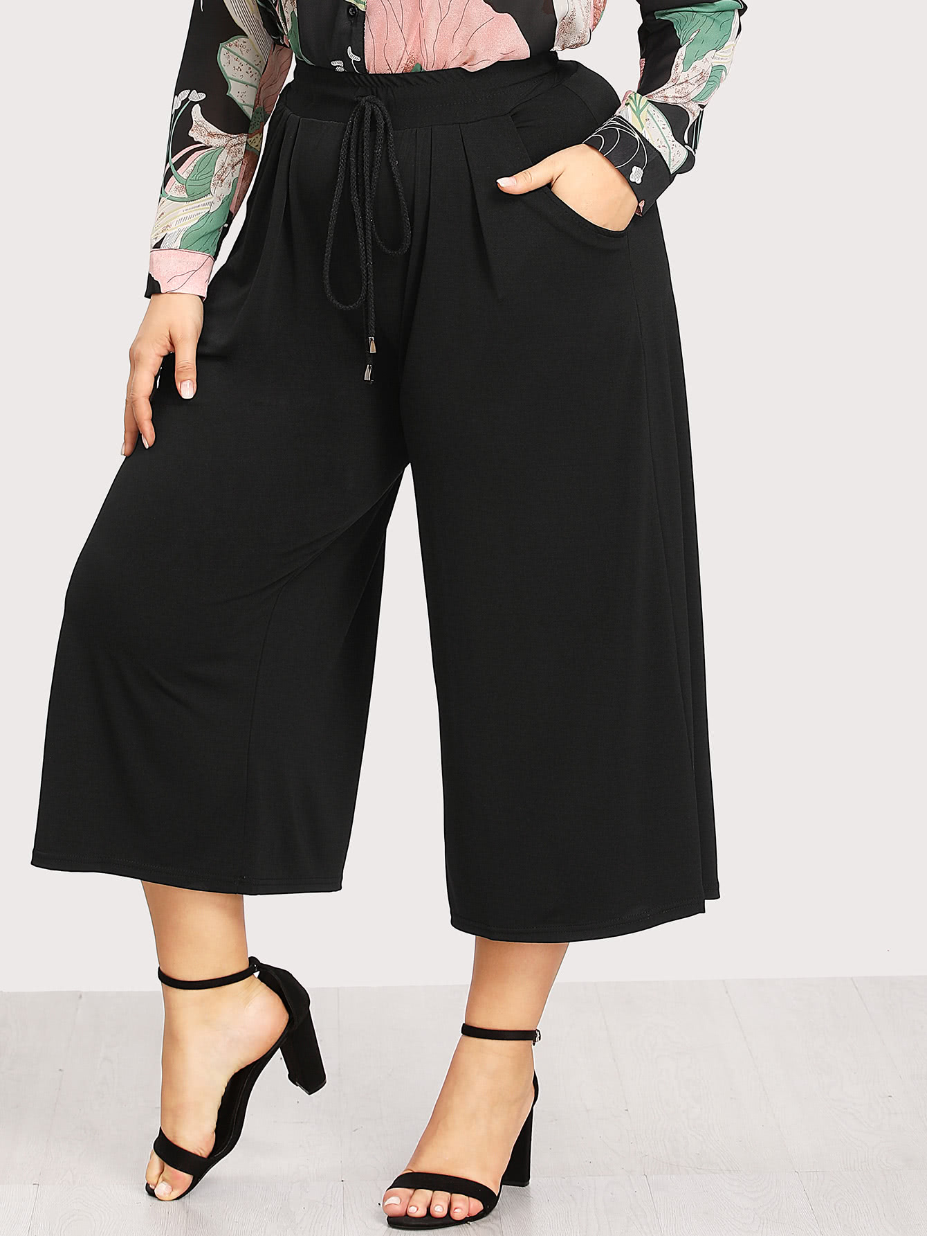 Image of Drawstring Waist Wide Leg Pants