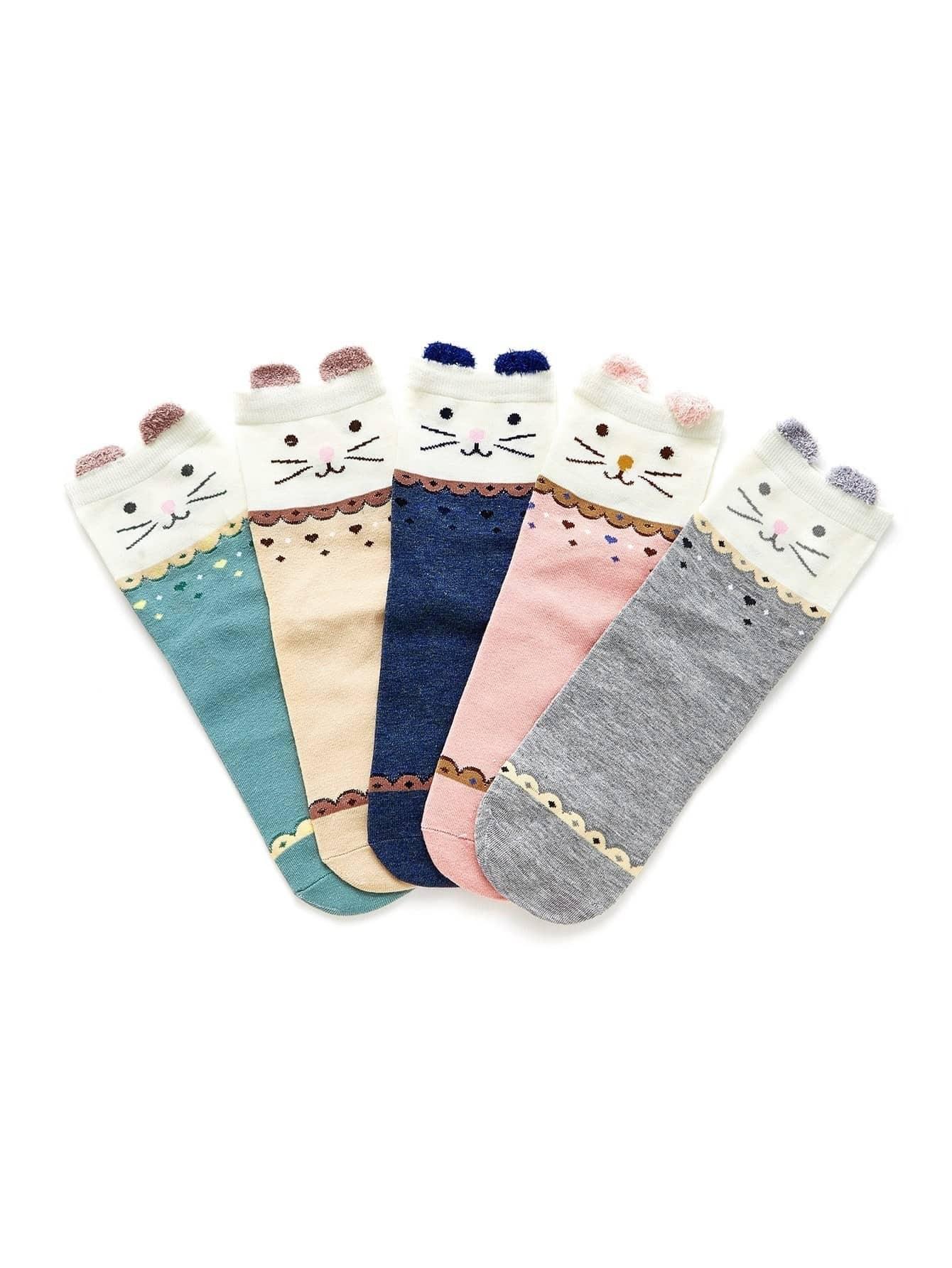 Cat Print Socks 5pairs