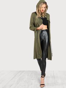 Drawstring Longline Hoodie Coat