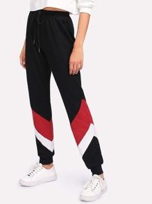 Cut And Sew Drawstring Sweatpants