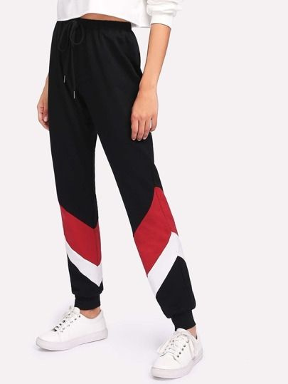Cut And Sew Drawstring Sweatpants