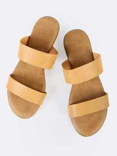 Double Strap Slip On Sandals NATURAL