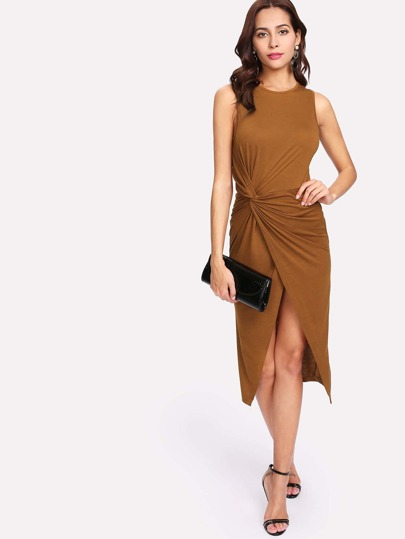 Twist Front Overlap Hem Dress