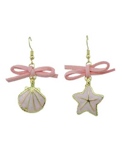 Shell Starfish Pendant Female Asymmetric Earrings
