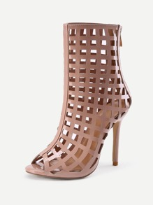 Caged Design Back Zipper Stiletto Heels