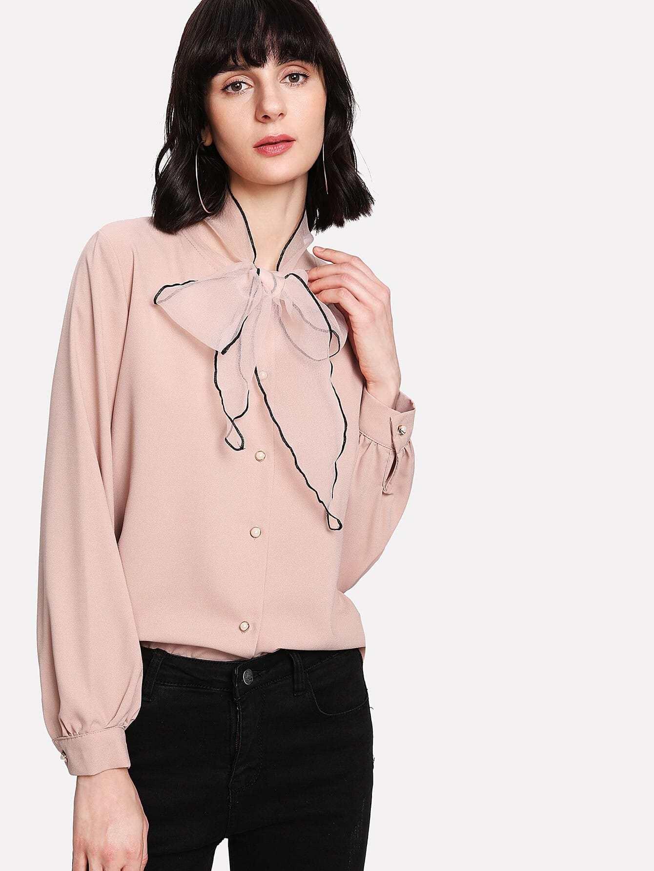 Купить Модная блуза с бантом, Ksenia G, SheIn