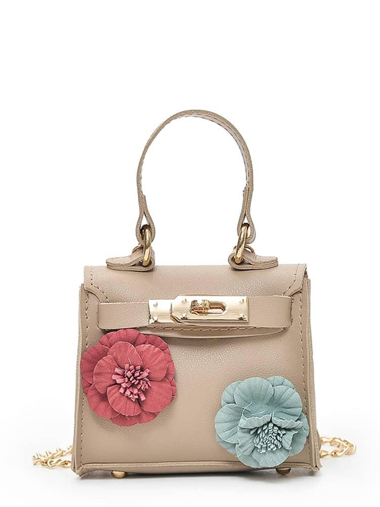 Flower Embellished Twistlock Chain Bag