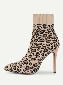 Leopard Print Stiletto Heeled Sock Boots