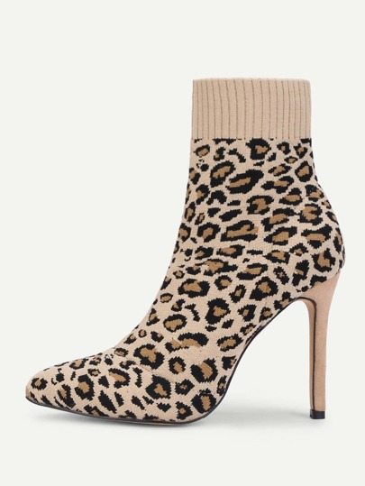Leopard Print Stiletto Heeled Sock Boots