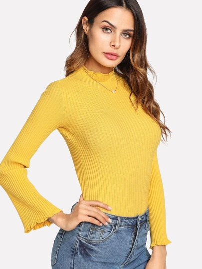 Lettuce Trim Ribbed Knit Sweater