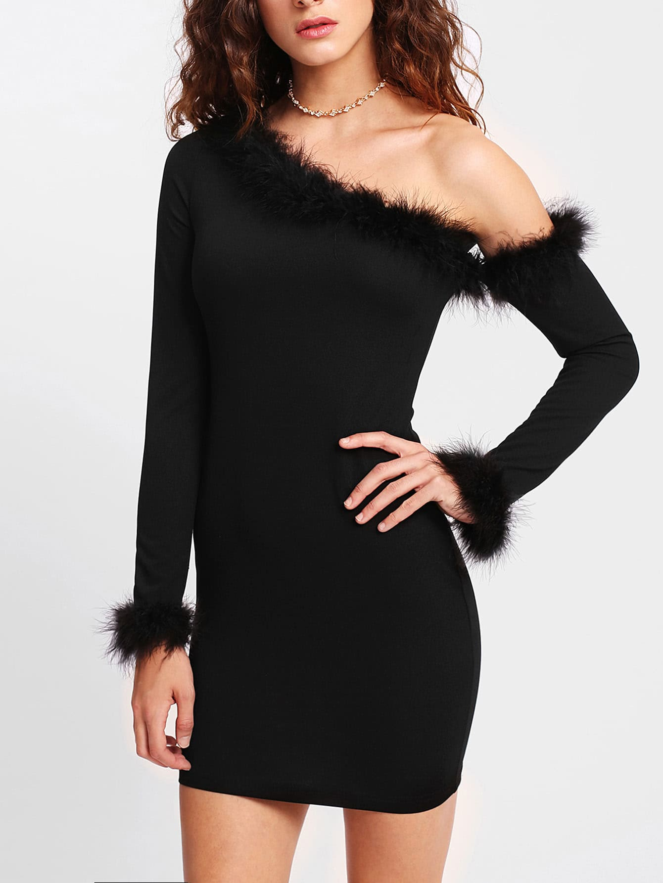 Contrast Faux Fur Trim Fitted Dress christmas faux fur fitted velvet short party dress with hat