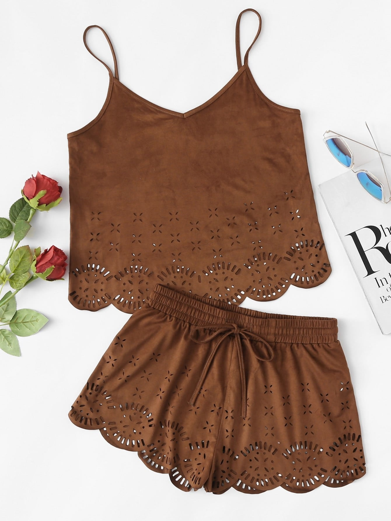 Cut Out Scallop Hem Cami Top And Shorts Co-Ord
